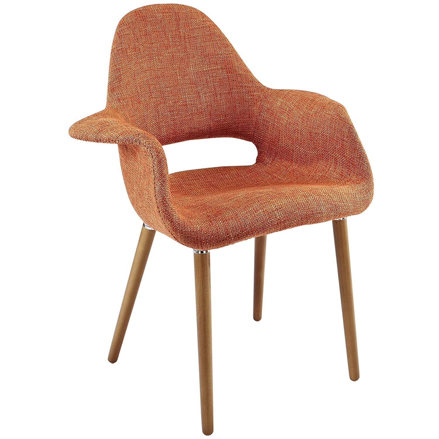 Traveller Location - Modway Aegis Mid-Century Modern Upholstered Fabric Organic  Dining Armchair With Wood Legs In Orange - Chairs