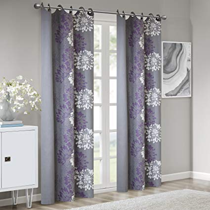 Grey Purple Curtains for Living Room, Modern Contemporary Purple Window  Curtains for Bedroom, Anaya