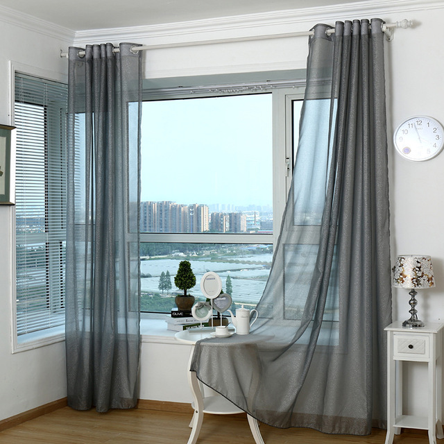 2018 Modern Curtains For Living Room Tulle Window Curtains for Bedroom Gray  Yarn Window Curtain Sheer blinds In SUPERHOUSEHOLD