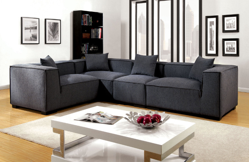 Furniture of america CM6037GY 4 pc langdon gray fabric modular sectional  sofa set