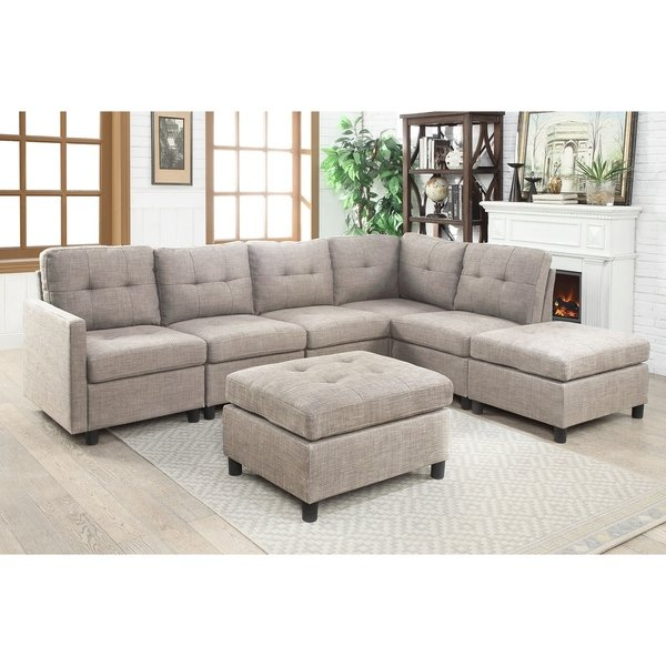 Shop 7pcs Grey Linen Fabric Modular Sectional Sofa - Free Shipping Today -  Overstock - 22749969