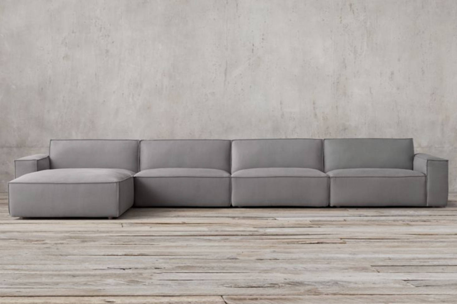 Even Restoration Hardware jumped on the clunky modular sofa bandwagon with  their Como Modular Sofa Sectional