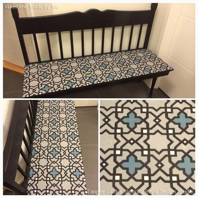 Moroccan Furniture Stencils | Small Tangier Lattice
