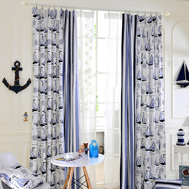 Blue/White Sailboat Nautical Curtains