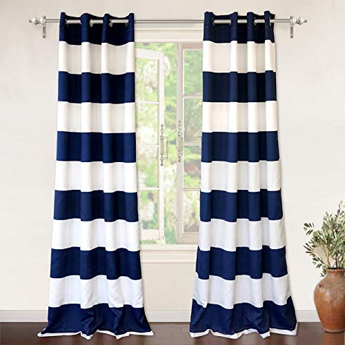 DriftAway Mia Stripe Room Darkening Grommet Unlined Window Curtains, Set of  Two Panels, Each