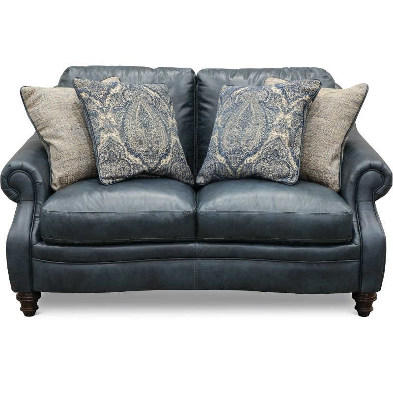 Classic Traditional Navy Blue Leather Loveseat - Admiral   RC Willey  Furniture Store