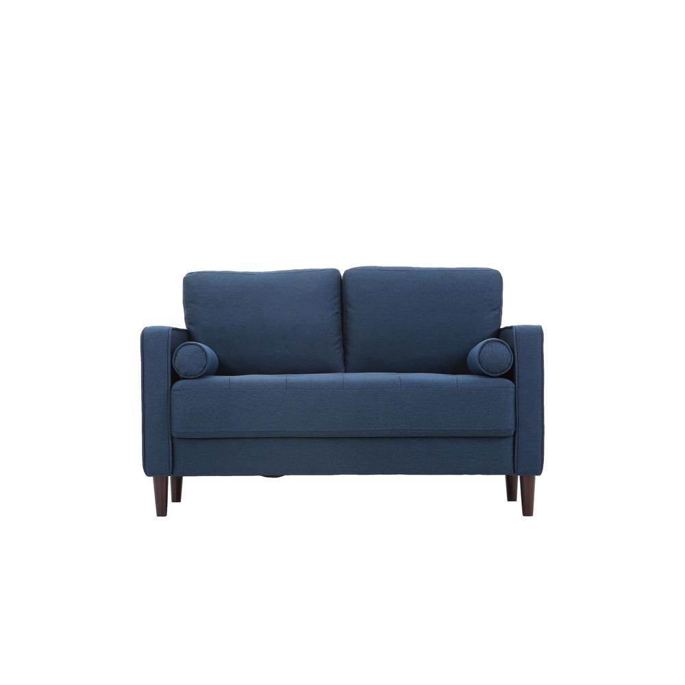 Lifestyle Solutions Lillith Mid Century Modern Loveseat in Navy Blue