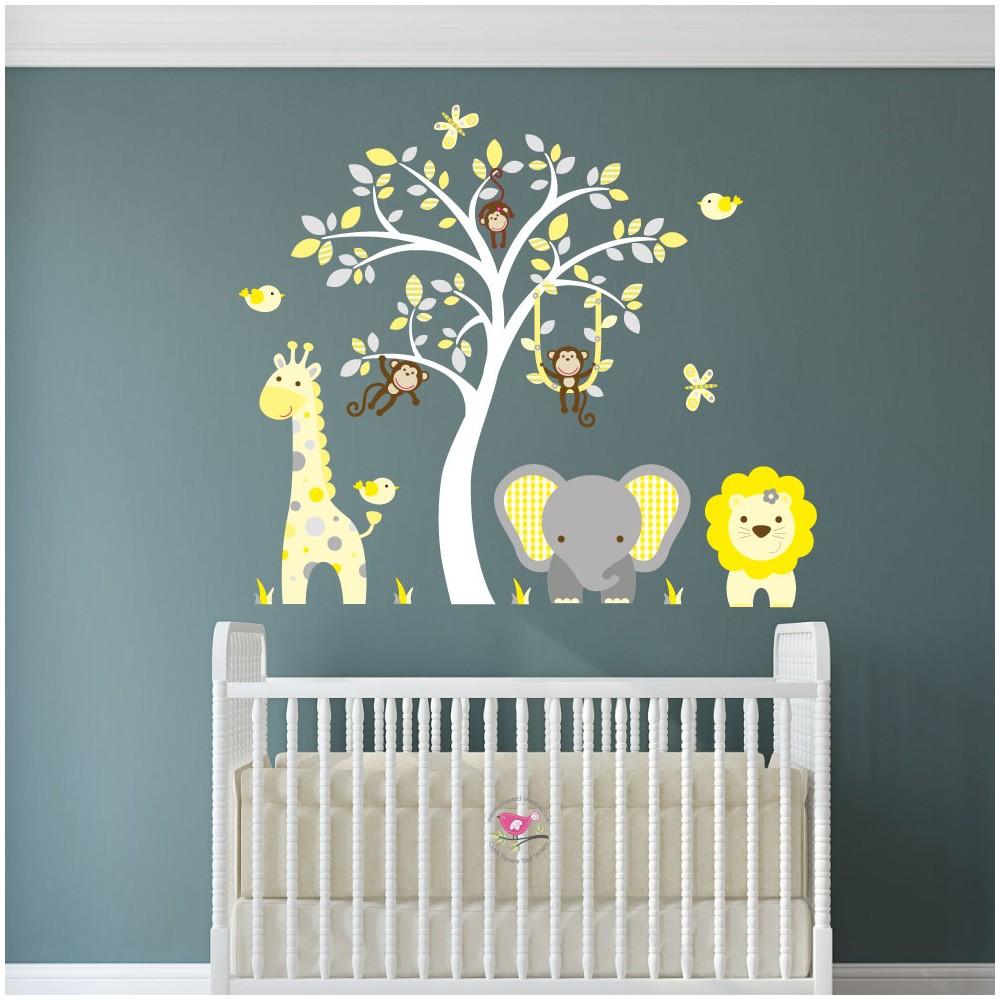 Jungle Wall Art Decals Yellow And Grey Nursery Image Gallery Nursery Wall  Art