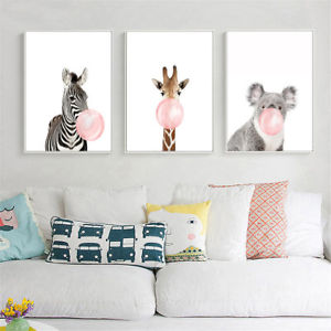 Image is loading Animal-Koala-Giraffe-Zebra-Canvas-Poster-Nursery-Wall-