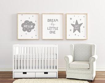 Dream Big Little One Nursery Art, Set of 3 Nursery Pictures, Grey Nursery  Wall Art, Boys / Girls Room