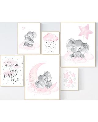 Nursery wall art girl elephant, pink and gray, nursery decor girl pink,  dream