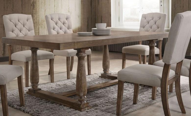 ACME Bernard Weathered Oak Dining Table - Bernard Collection: 8