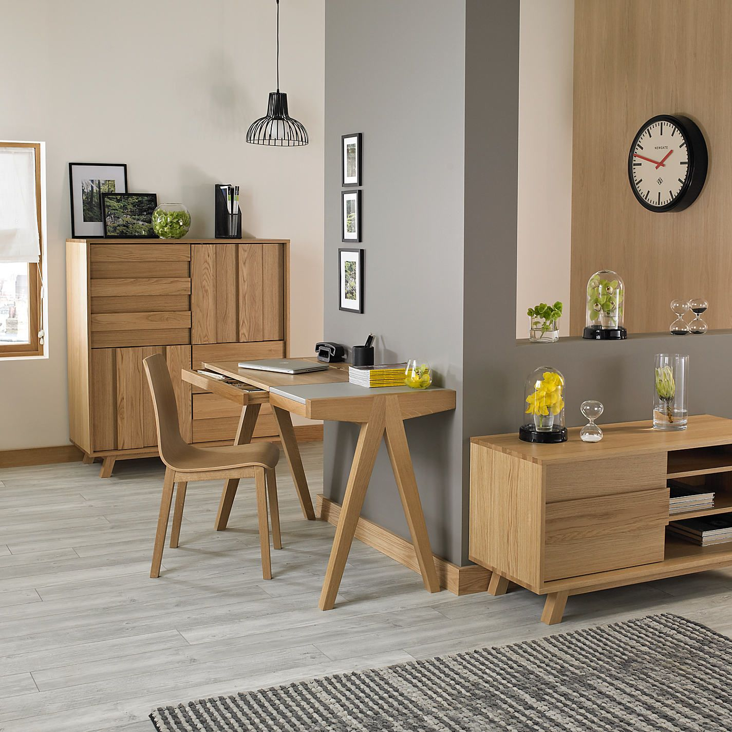 grey wood flooring and oak furniture - Google Search