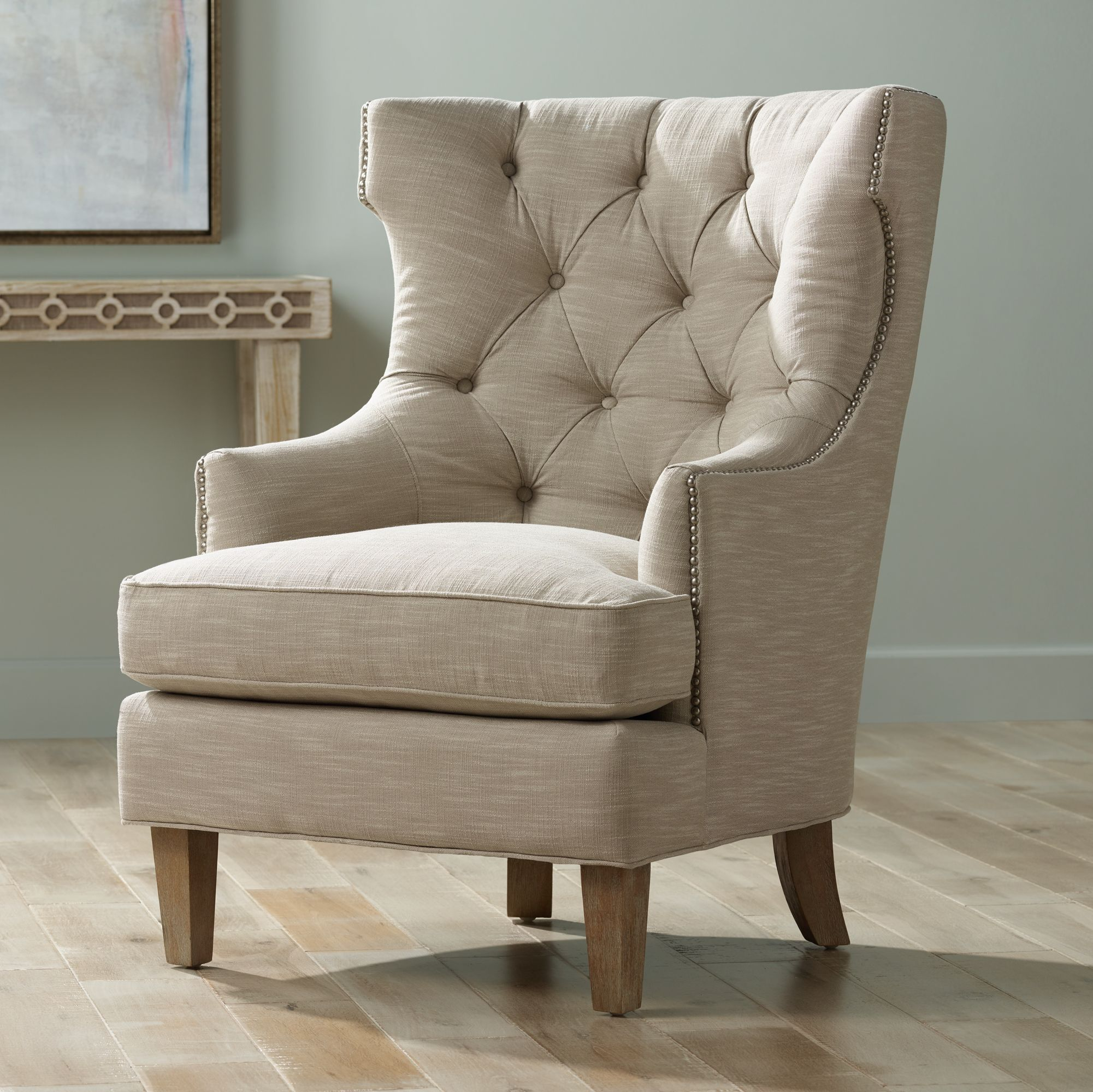 Reese Studio Oatmeal High-Back Accent Chair