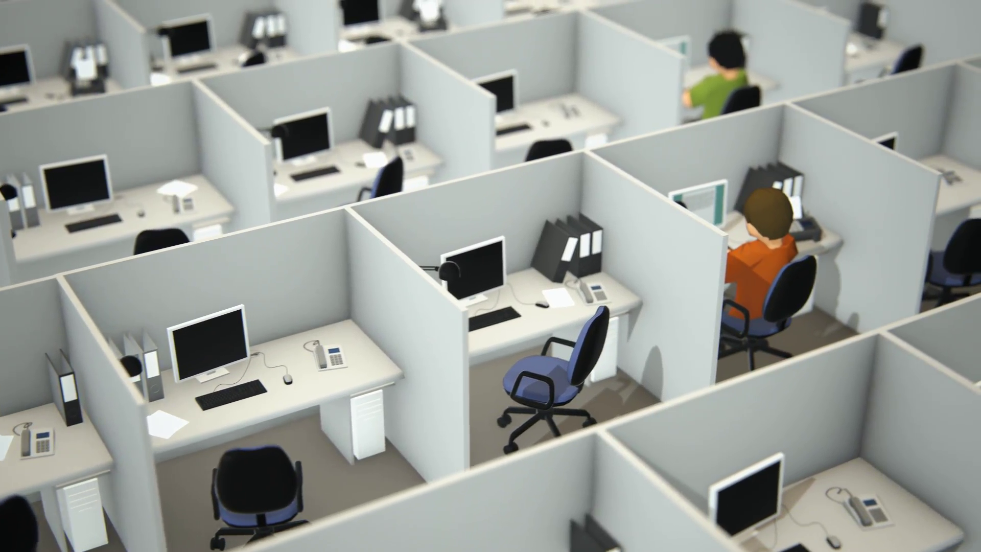 Employees Working In Cubicles In Office Motion Background - Storyblocks  Video