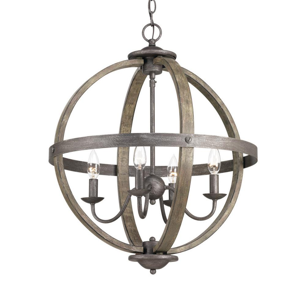 4-Light Artisan Iron Orb Chandelier with Elm Wood Accents