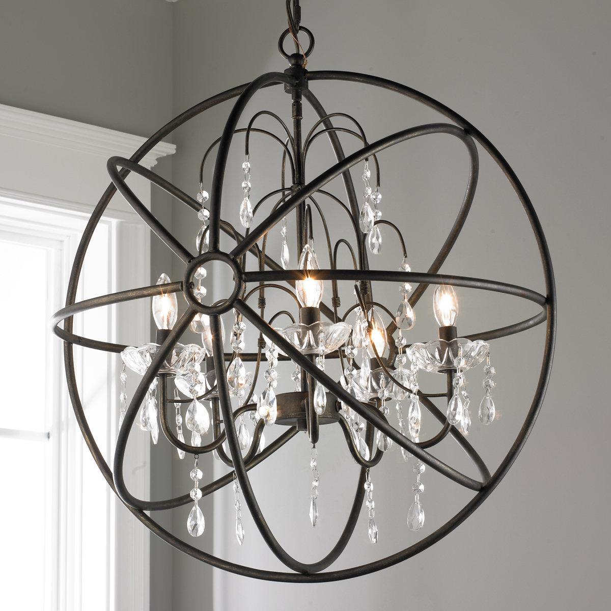 Crystal and Metal Orb Chandelier