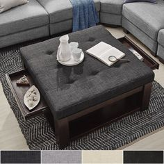 Lennon Espresso Square Storage Ottoman Coffee Table by iNSPIRE Q Classic  ([Beige Linen]- Smooth Top)