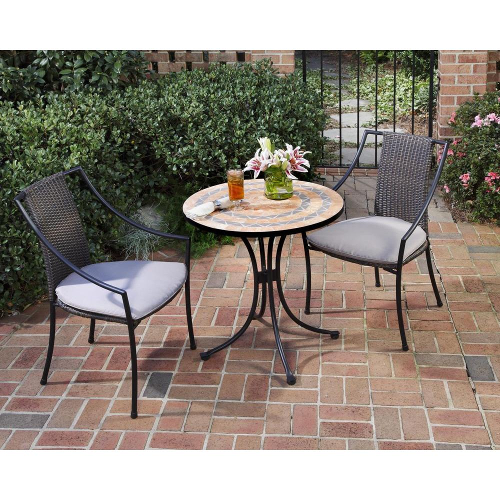 Home Styles Terra Cotta 3-Piece Tile Top Patio Bistro Set with Taupe  Cushions