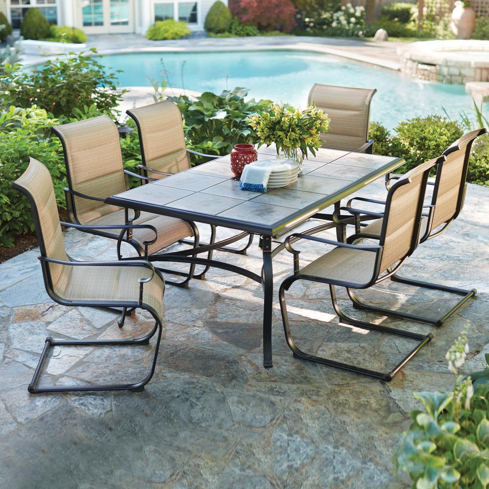 Hampton Bay Belleville 7-Piece Padded Sling Outdoor Dining Set