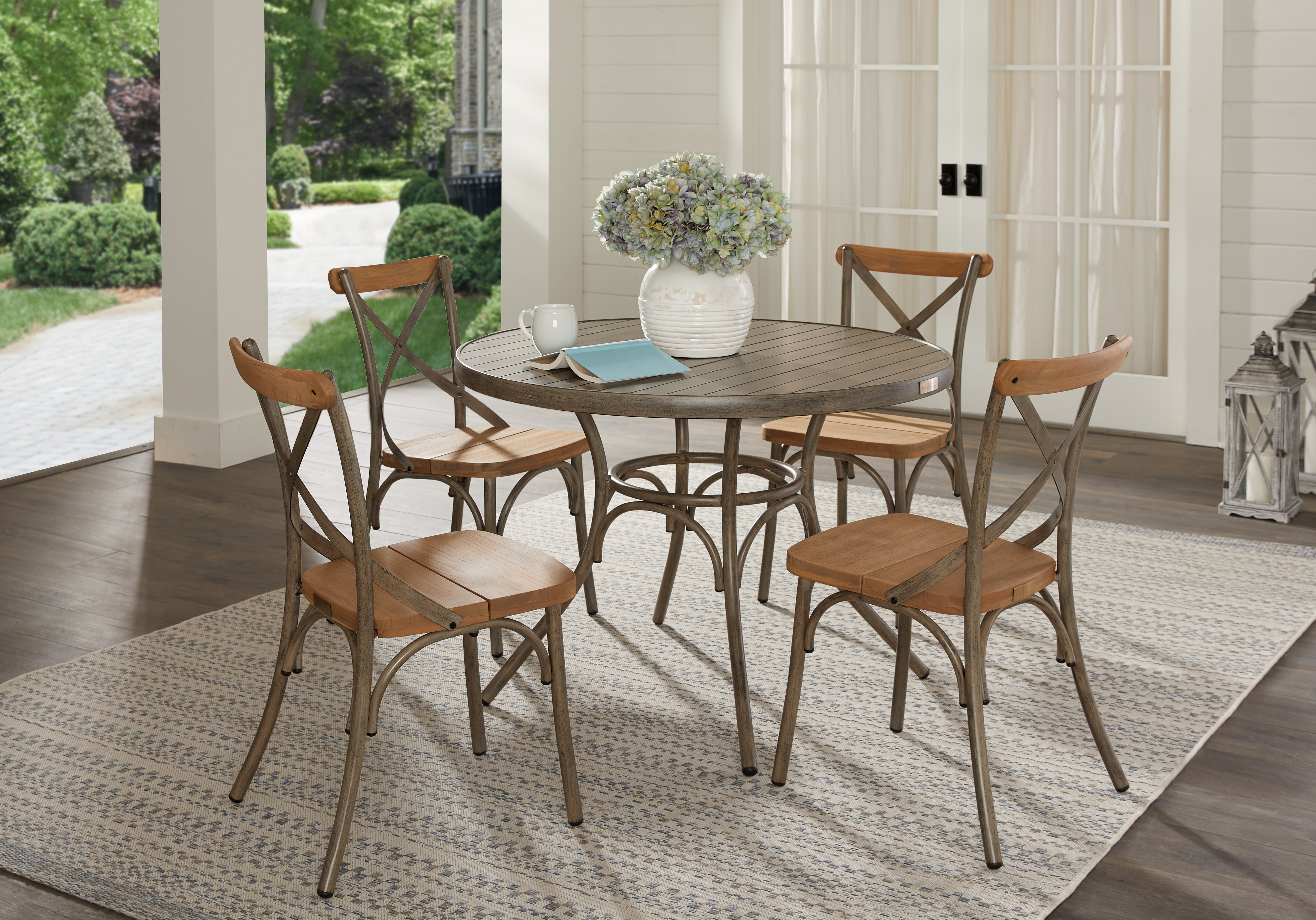 Round Outdoor Dining Set - Outdoor Dining Sets Dark Wood