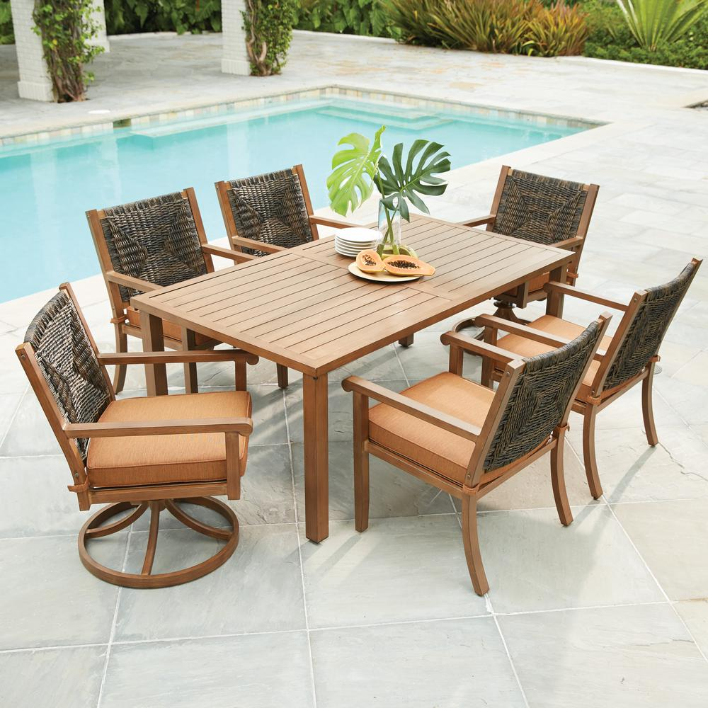 Hampton Bay Kapolei 7-Piece Wicker Outdoor Dining Set with Reddish Brown  Cushion