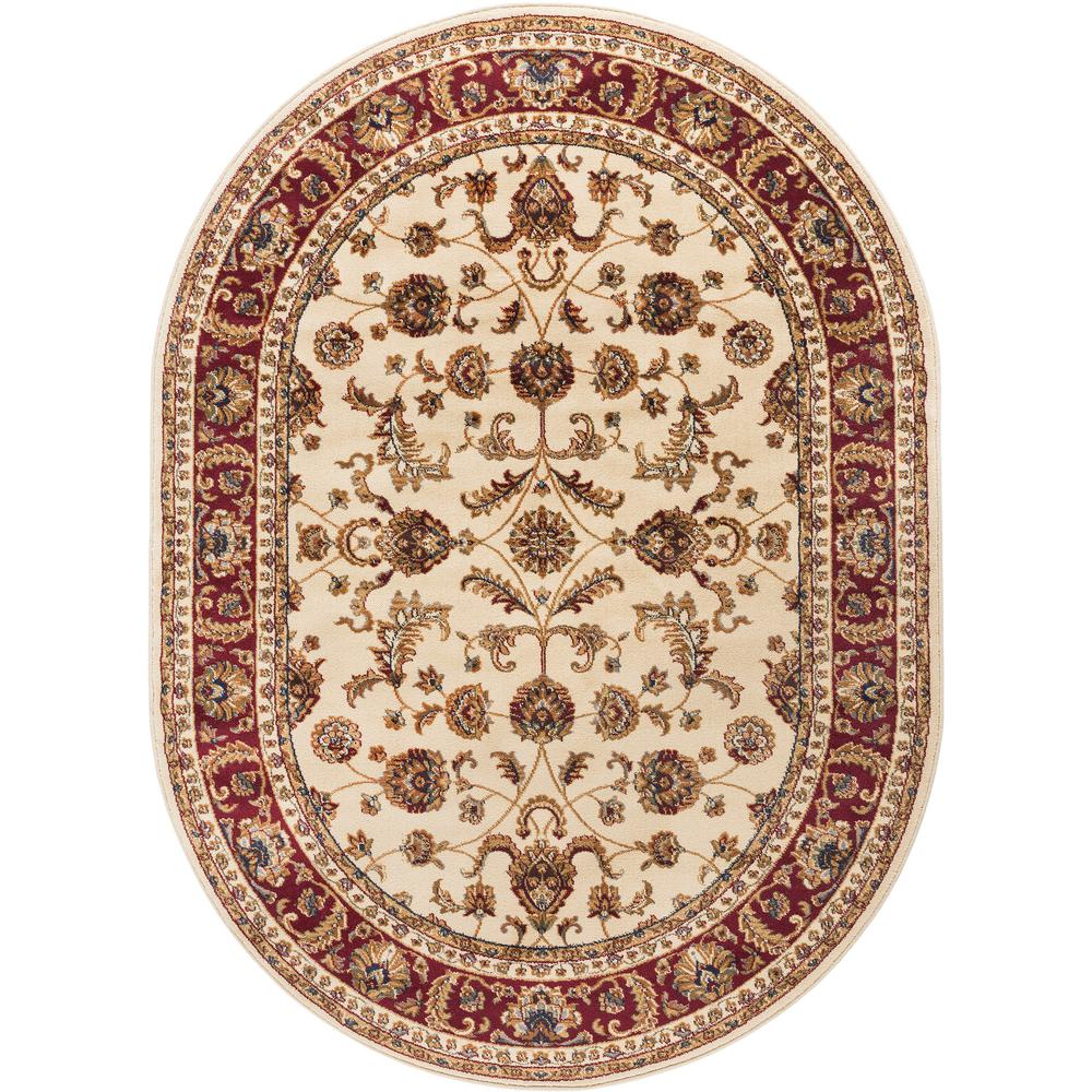 Tayse Rugs Sensation Beige 7 ft. x 10 ft. Oval Transitional Area Rug