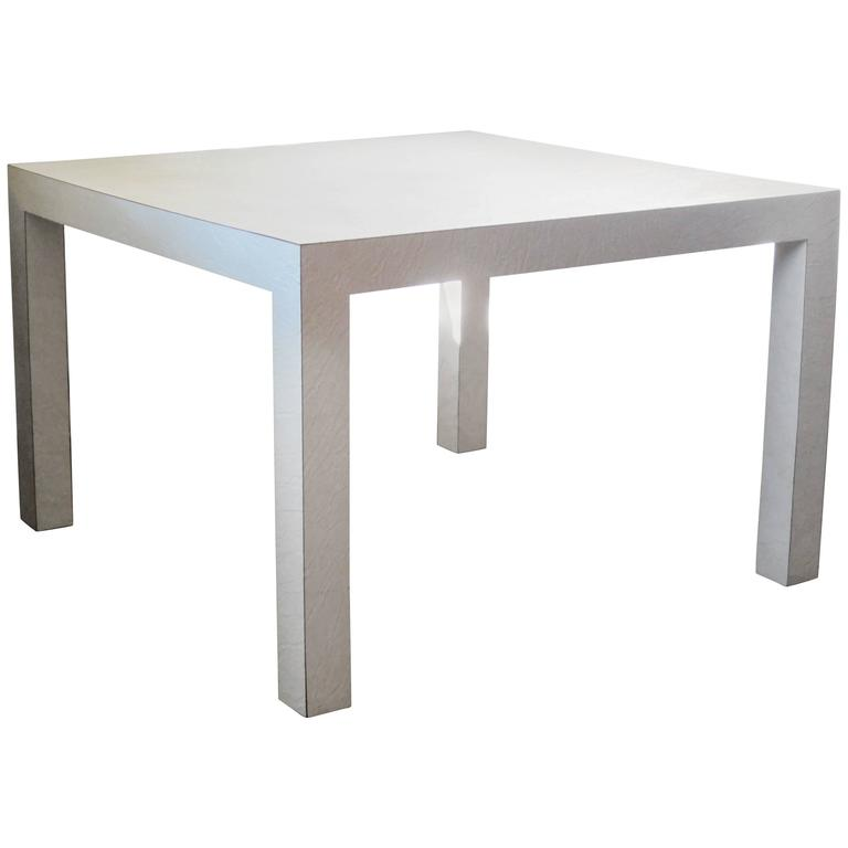 Textured White Laminate Parsons Table For Sale