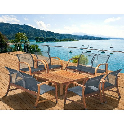 Gables 8-Piece Wood/Sling Patio Conversation Furniture Set : Target