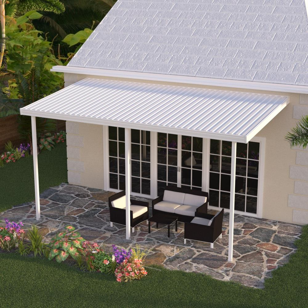 White Aluminum Attached Solid Patio Cover with 3 Posts (10 lbs. Live Load)