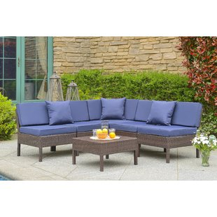 Mccubbin 6 Piece Rattan Sectional Seating Group with Cushions