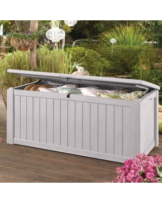 Keter White Jumbo 150 Gallon Patio Storage Bench Weatherproof Deck Box