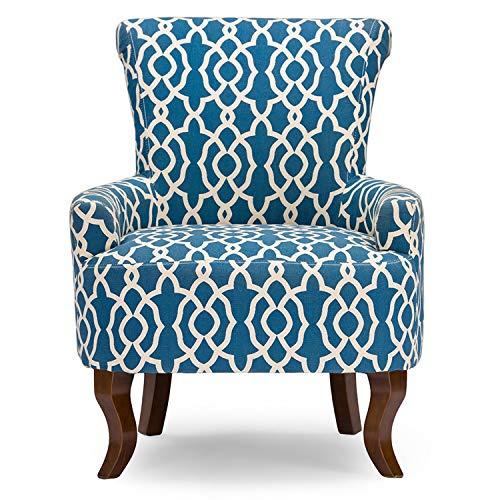 Baxton Studio Claudette Modern Dark Blue Patterned Fabric Armchair