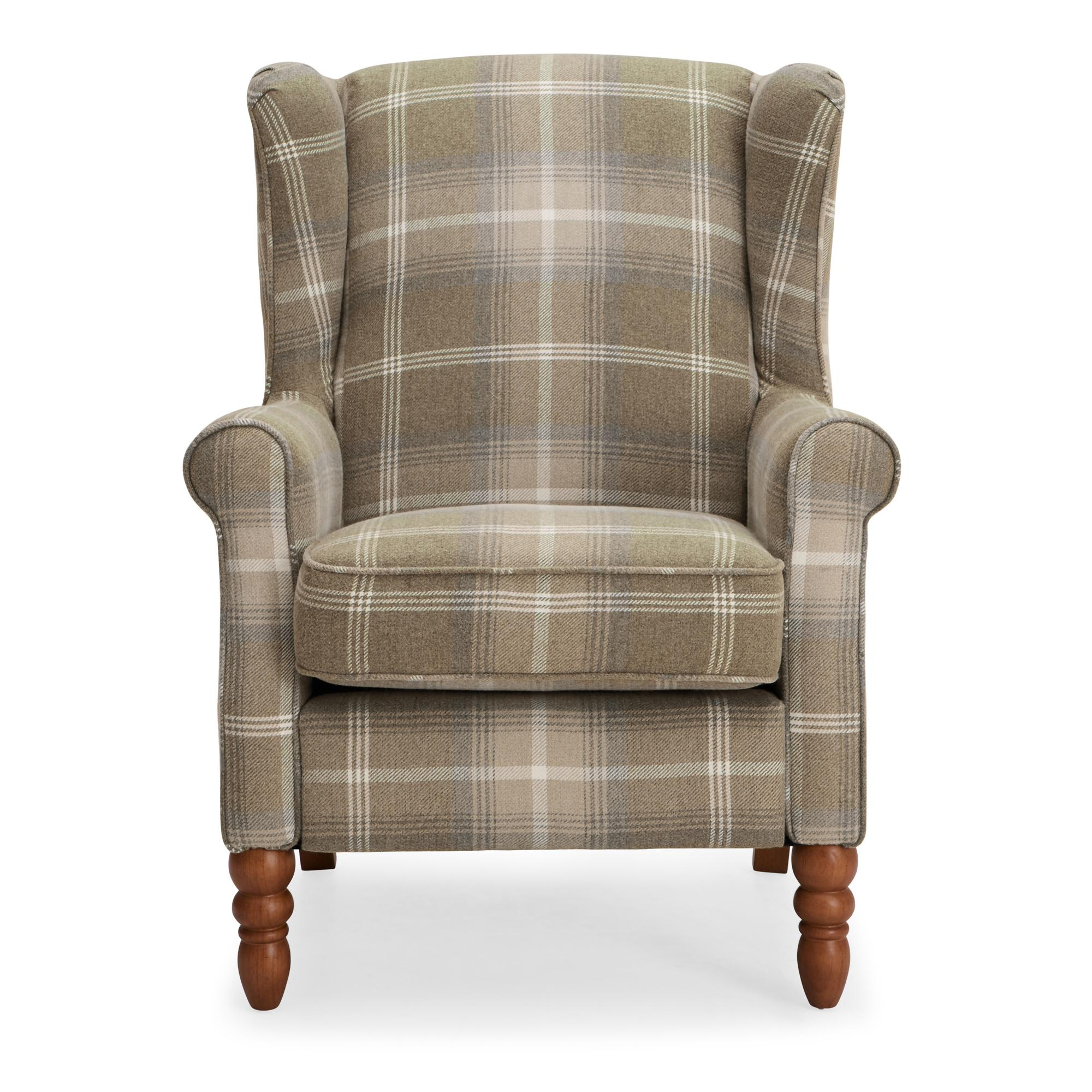 Oswald Check Wingback Armchair - Natural