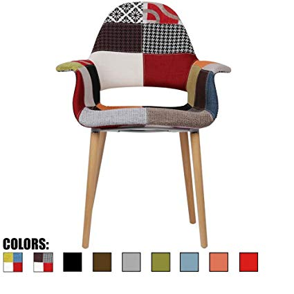 2xhome – Patchwork Patterned Mid Century Modern Upholstered Fabric Organic  Accent Living Room Dining Chair Armchair
