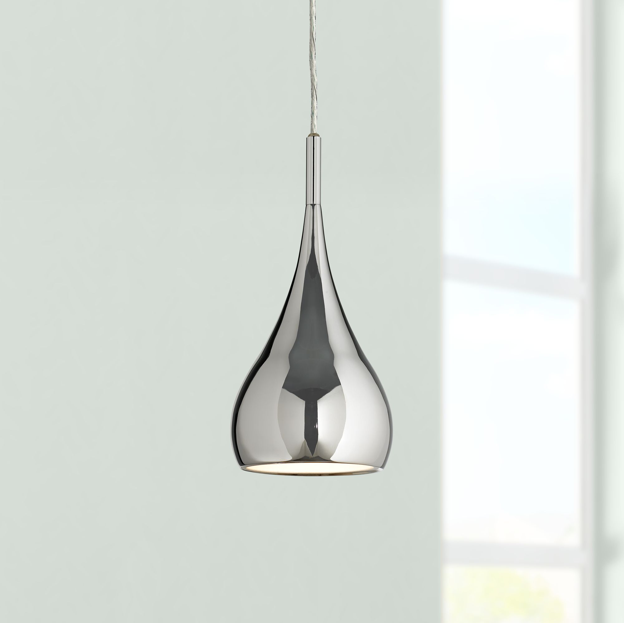 Possini Euro Raindrop Chrome Finish Mini Pendant Light