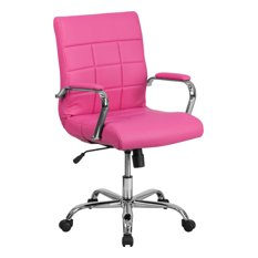 Mid-Back Vinyl Executive Swivel Office Chair With Chrome Arms, Pink