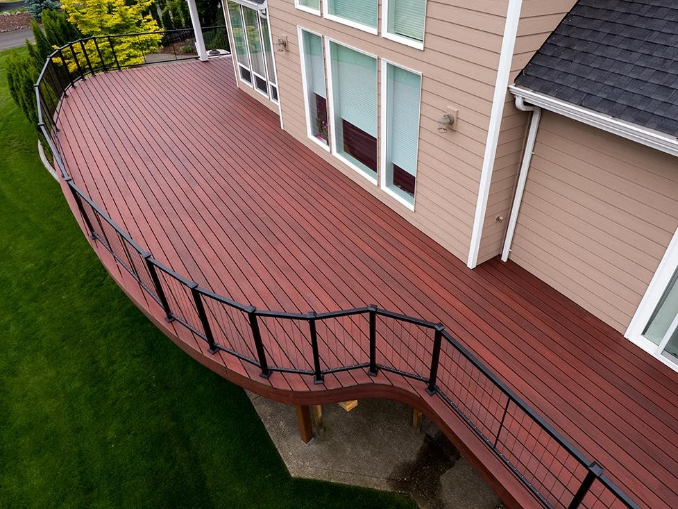 Composite bamboo and plastic decking looks like tropical hardwood, but uses  fast-growing bamboo