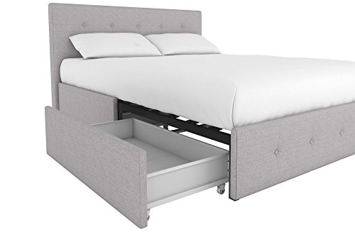 DHP 4155439 Rose Upholstered Bed with Tufted Detail and Storage Queen Grey  Linen