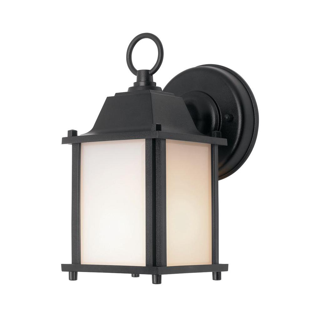 Newport Coastal Square Porch Light Black with Bulb-7974-01B - The Home Depot