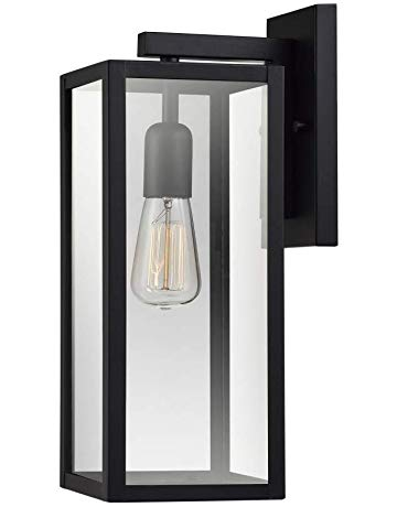 Globe Electric Bowery 1-Light Outdoor Indoor Wall Sconce, Matte Black,  Clear Glass