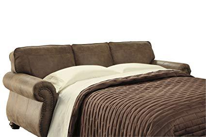 Ashley Furniture Signature Design - Larkinhurst Traditional Sleeper Sofa - Queen  Size - Faux Weathered Leather