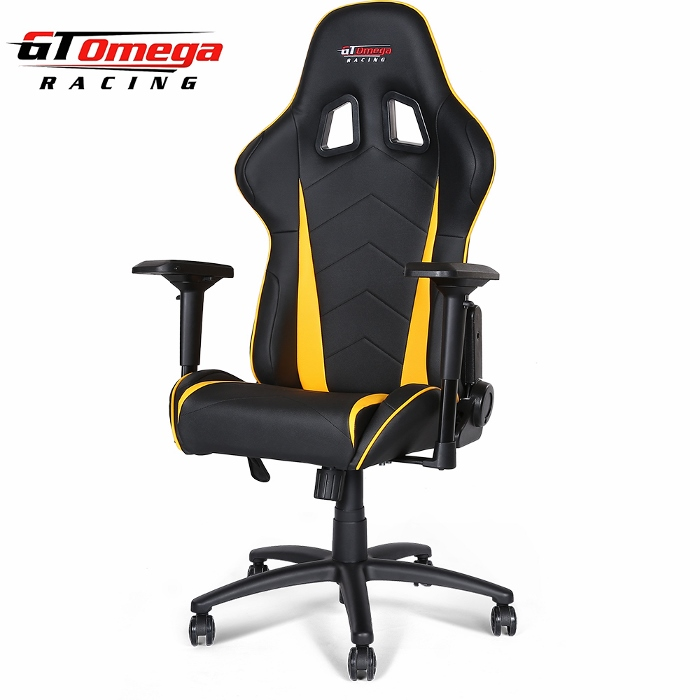 Gaming Seats - GT Omega PRO Racing Office Chair Black Next Yellow Leather