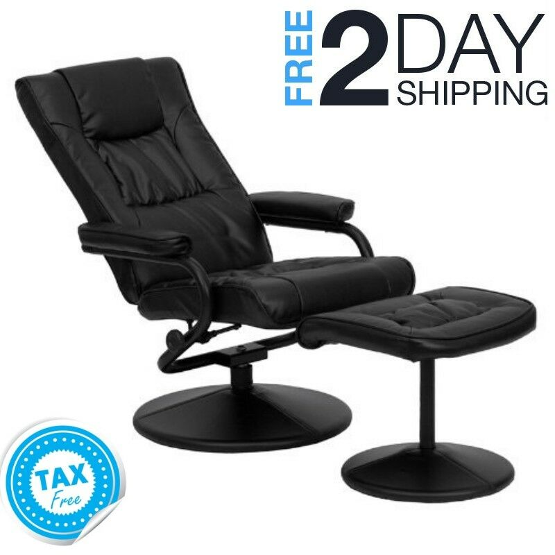 Details about Comfy Reading Chair Ottoman Leather Comfortable Cozy Black  Living Room Swivel