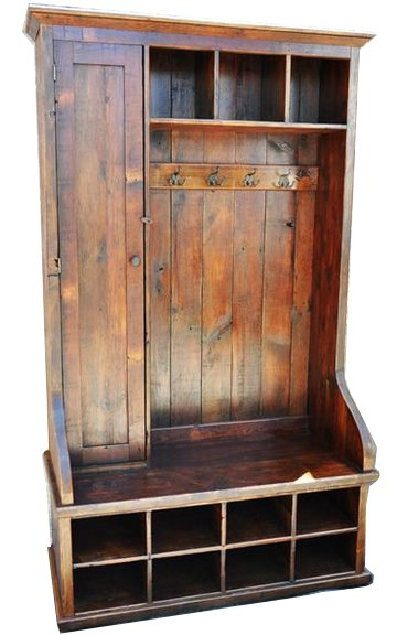 Reclaimed Wood Mudroom Organizer With Door 48