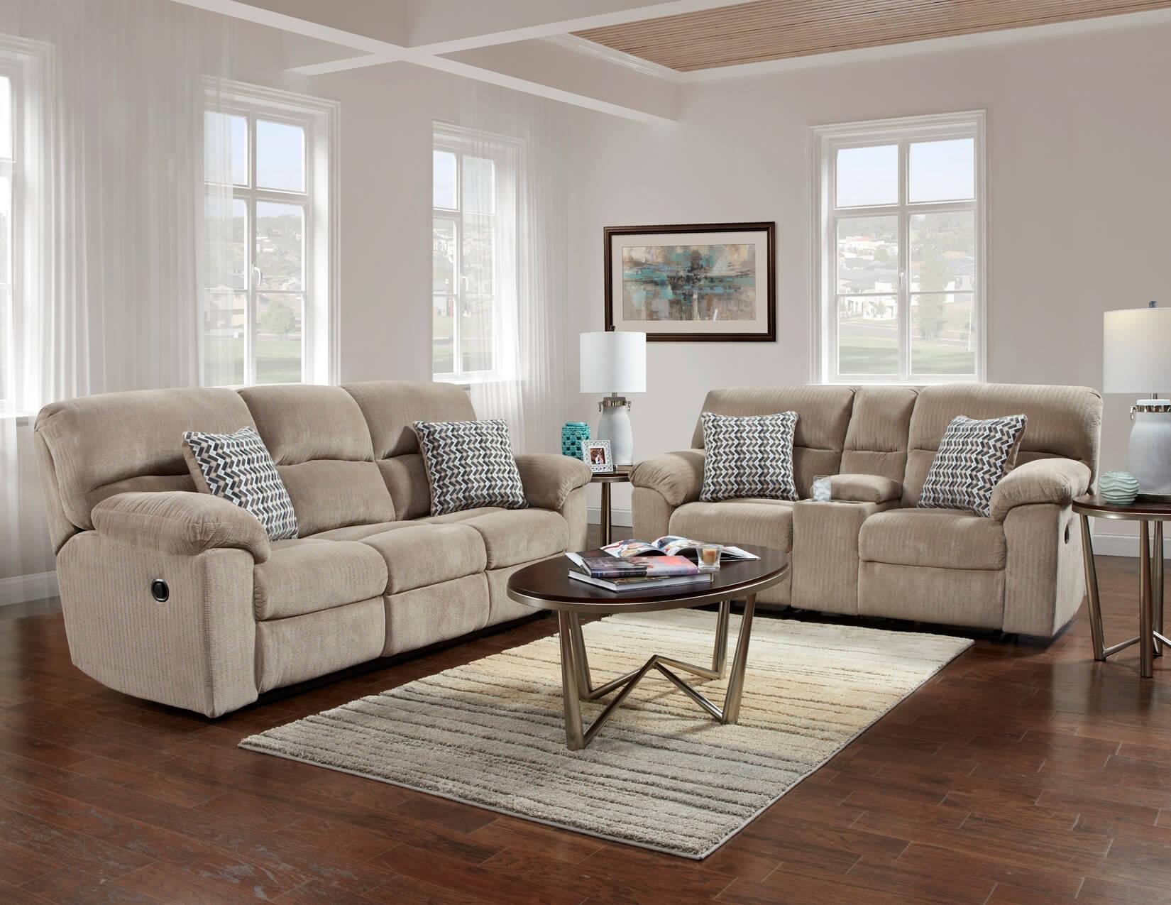 Chevron Seal Reclining Sofa and Loveseat Set