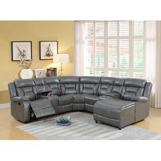 Esofastore 5pcs Reclining Motion Sectional Sofa Gel Leatherette Loveseat  Console Corner Wedge Armless Chair Push Back