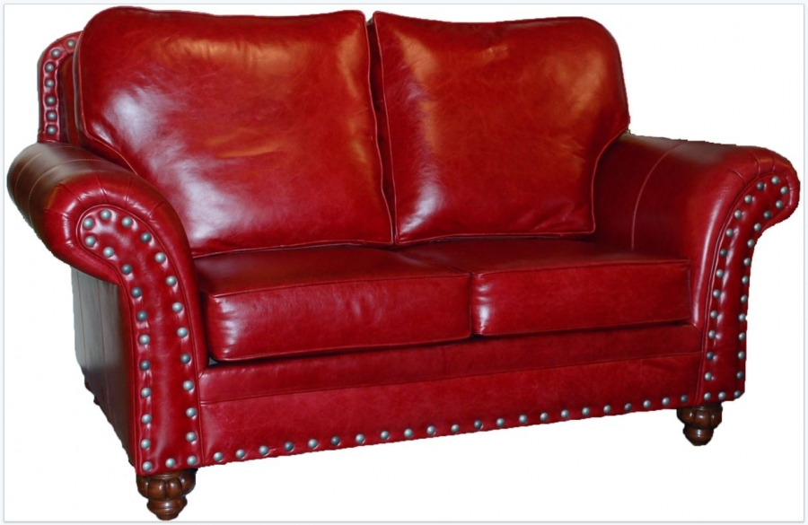 Mustang Red Leather Nailhead Loveseat