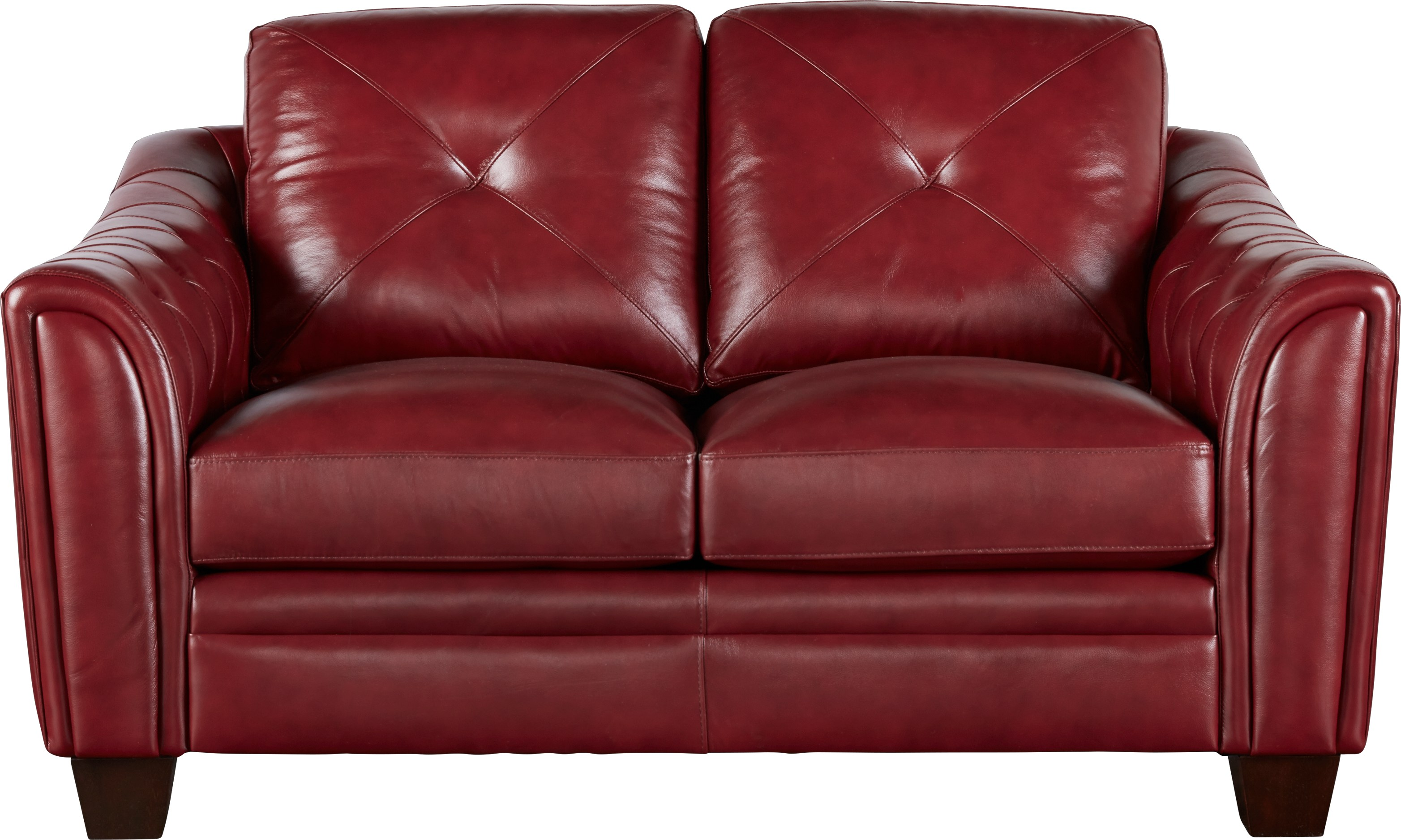 Cindy Crawford Home Marcella Red Leather Loveseat - Leather Loveseats (Red)