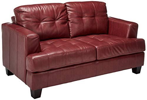 Samuel Leather Loveseat Red